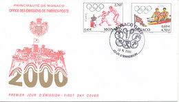 Monaco FDC 23-6-2000 Olympic Summer Games Sydney Complete Set Of 2 With Cachet - FDC