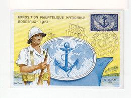 Carte Maximum Cachet Cinquantenaire Troupes Coloniales Mai 1951. Exposition Philatélique Nationale Bordeaux. (3435) - Maximum Cards