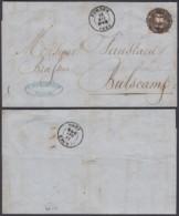 """Belgique - Lettre COB 10 Oblitération P44 """" Furnes """" 15/05/1860 Vers Bulscamp (BE) DC6607 - 1858-1862 Médaillons (9/12)"""
