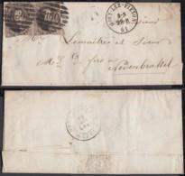 Belgique - Lettre COB 10 Oblitération 8 Barres P180 Gouy-Lez-Pieton 28/02/61 Vers Trazegnies (BE) DC6608 - 1858-1862 Medallions (9/12)