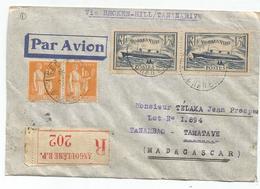 NORMANDIE 1FR50X2+N°286X2+284A LETTRE REC AVION ANGOULEME 1935 POUR MADAGASCAR VIA BROKEN HILL - Storia Postale