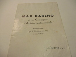 "Programme/Théatre/Max Darlho Et Sa Compagnie D'artistes Professionnels/""Les Deux Gosses""L Assalit/vers 1930-50  PROG260 - Programs"