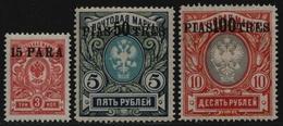 Russia / Levante 1913 - Mi-Nr. 76-78 * - MH - Freimarken - Levant