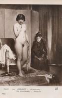 CARTE POSTALE ORIGINALE ANCIENNE SALON DE PARIS TABLEAU DE J. BAUGNIES LA MINEURE JEUNE FILLE NUE PIN UP SEXY EROTIC - Erotik Bis 1960 (nur Erwachsene)