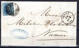 11A Avec Bord De Feuille Sur LAC Expédiée De Liège à Destination De Namur - 1858-1862 Medaillons (9/12)