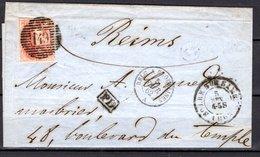 12 Sur LSC - Expédiée De Solré-sur-Sambre à Destination De Reims Par L'Ambulant MIDI - 1858-1862 Medallions (9/12)
