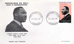 Mali A 059 Fdc Martin Luther King, Apôtre De La Paix, Prix Nobel - Martin Luther King