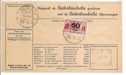 Spoorweg Vrachtbrief 50ct Rood Den Haag>'s Hertogenbosch - Railway