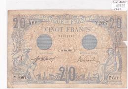 Billet De 20 Francs Bleu Du 26 Juin 1912 - Y.2087 Alph 560 @ N° Fayette : 10.2 - 1871-1952 Circulated During XXth