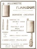 """PUB ALLUMETTES    """" FLAMIDOR  """"    1915  ( 5 ) - Briquets"""