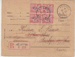 """MAROC : REC . 40 Cts . DE """" KENITRA """" . POUR LA FRANCE  . 1915 . - Lettres & Documents"""
