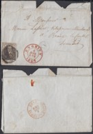 """Belgique - Lettre COB 6 Oblitération P138 Enghien Boite """" Denderwindekel"""" 02/01/1857 (BE) DC6610 - 1851-1857 Médaillons (6/8)"""