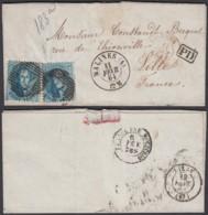 Belgique - Lettre COB 15 X2 De Malines 11/02/1864 Vers Liège (BE) DC6619 - 1863-1864 Medaillen (13/16)