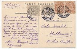 FRANCE - CPA Affranchie 10c Type Blanc (2 X 4c + 2x1c) CANNES 1906 - 1900-29 Blanc