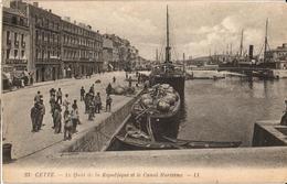 34 - CETTE - LE QUAI DE LA RÉPUBLIQUE ET LE CANAL MARITIME - Sete (Cette)