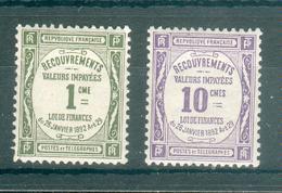 FRANCE ; Taxes ; 1908-25 ; Y&T N° 43-44 ; Neuf Ttbe - 1859-1955 Neufs