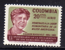 COLOMBIA 1964 AIR MAIL AEREO POSTA AEREA ELEANOR ROOSEVELT CENT. 20c MNH - Colombia