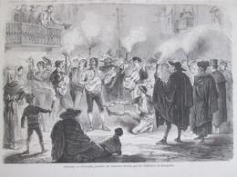 Gravure 1870  ESPAGNE SARAGOSSE   Sérénade  Donnée Au Ministre Zorilla  Par Les Habitants Zaragoza - Zaragoza