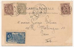 FRANCE - CPA Affranchie 5c Type Blanc (2 X 1c + 1c) Paris 116 + Vignette Exposition Universelle PARIS Angleterre 1900 - Décrets & Lois