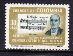 COLOMBIA 1964 AIR MAIL AEREO POSTA AEREA DEPARTMENT OF TOLIMA MAESTRO ALBERTO CASTILLA EL BUNDE CENT. 30c MNH - Colombia