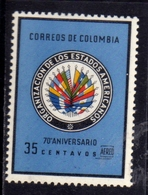 COLOMBIA 1962 AIR MAIL AEREO POSTA AEREA AMERICAN STATES FLAGS IN NATIONAL COLOR CENT. 35c MNH - Colombia