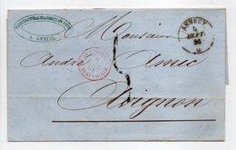 - Lettre MANUFACTURE D'ANNECY Via PONT-DE-BEAUVOISIN Pour AVIGNON 4 SEPT 1851 - Taxe Manuscrite 5 Décimes - - Poststempel (Briefe)