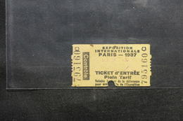 FRANCE - Ticket D'entrée Pour L 'Exposition Internationale De Paris En 1937  - L 52435 - Eintrittskarten