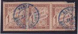 FRANCE : N° T 25 . TAXE DUVAL . OBL . BANDE DE 3 . SUR FGT . TB . ( CATALOGUE YVERT ) . - Taxes