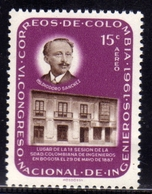 COLOMBIA 1962 AIR MAIL AEREO POSTA AEREA DIODORO SANCHEZ FIRST METING PLACE ENGINEERS SOCIETY CENT. 15c MNH - Colombia