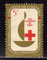 COLOMBIA 1963 INTERNATIONAL RED CROSS CENTENARY CROCE ROSSA CROIX ROUGE CENT. 5c MNH - Colombia