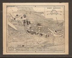 CARTE PLAN 1925 EAUX BONNES - Éts BAINS Éts D'ORTEIG CASINO HOPITAL MILITAIRE - Topographische Kaarten