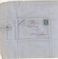 "FRANCE : GC 2056 . ET CONV STATION HONFLEUR . "" H-LIS "" . 1869 . - Marcophilie (Lettres)"