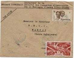 Madagascar Lettre Avion Airmail Cover Diégo Suarez 1947 Libération + Sakalave - Madagascar (1889-1960)
