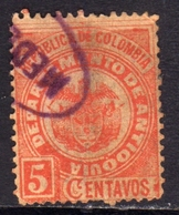 COLOMBIA 1892 1899 COAT OF ARMS STEMMA ARMOIRIES CENT. 5 USATO USED OBLITERE' - Colombia
