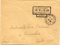 """SAINT PIERRE ET MIQUELON LETTRE AVEC CACHET """"GOUVERNEMENT """"P. P."""" 0 30..........."""" DEPART ST PIERRE ET MIQUELON 30-6-26 - Lettres & Documents"""