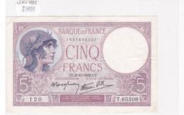 Billet De 5 Francs VIOLET Du 2 Novembre 1939 - T.65508 Alph 120 @ N° Fayette : 4.14 - 1871-1952 Anciens Francs Circulés Au XXème