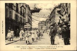 """70  GRAY  Festival De Gymnastique Et De Musique 1922  Le Défilé Rue Thiers """" La Jeune Garde """" - Gray"""