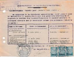 1924 - SAINT-JULIEN-en-GENEVOIS (74) LAISSEZ-PASSER Pour Circuler En SUISSE Librement - Documenti Storici