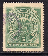 COLOMBIA ANTIOQUIA 1896 COAT OF ARMS STEMMA ARMOIRIES CENT. 5 USATO USED OBLITERE' - Colombia