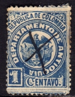 COLOMBIA ANTIOQUIA 1893 COAT OF ARMS STEMMA ARMOIRIES CENT. 1c USATO USED OBLITERE' - Colombia