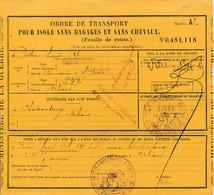 WW1 1915 Ordre De Transport Pour ISOLE Sans Bagages De CHÂTEAUROUX à ORLÉANS - Dépôt De CONVALESCENTS - Historical Documents