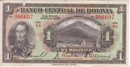 BILLETE DE BOLIVIA DE 1 BOLIVIANO DEL AÑO 1928 SERIE X4 (BANKNOTE) - Bolivia