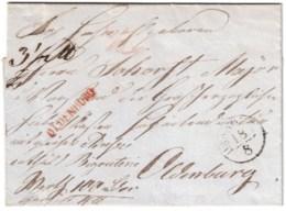 """1849, Paketbegleitbrief, Angegebener Wert """"100 Th"""" Ab HANNOVER Mit Rotem L1 """"Ooldenburg"""" - Oldenbourg"""