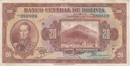 BILLETE DE BOLIVIA DE 20 BOLIVIANOS DEL AÑO 1928 SERIE E (BANKNOTE) - Bolivia