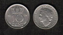 NETHERLANDS  10 CENTS 1948 (KM # 177) #5476 - 10 Cent