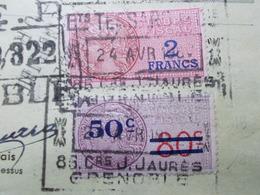 Document Assez Rare Timbre Fiscal 50c/80c Tessaro Pneus Grenoble 1950 (2625) - Steuermarken
