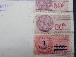 Document Assez Rare Timbre Fiscal 1 Fr/1,50 Fr Esplanade Automobile Berliet EspGrenoble 1950 (2626) - Steuermarken