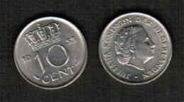 NETHERLANDS  10 CENTS 1955 (KM # 182) #5482 - 1948-1980 : Juliana