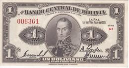 BILLETE DE BOLIVIA DE 1 BOLIVIANO DEL AÑO 1928  SERIE G1 (BANKNOTE) - Bolivia