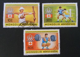 JEUX OLYMPIQUES DE MONTREAL1976 - OBLITERES - YT 832 + 834 + 836 - Mongolie